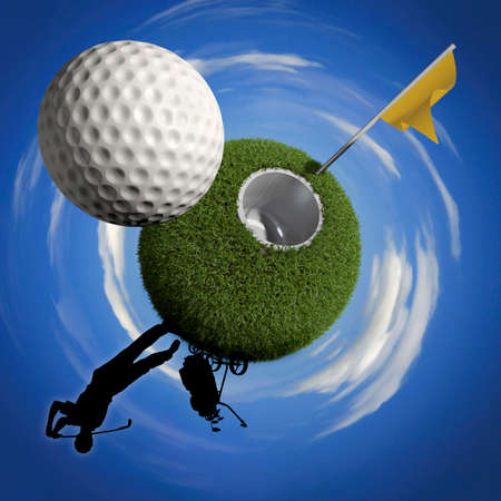 albatross: Golf ball is flying towards the hole with a yellow flag