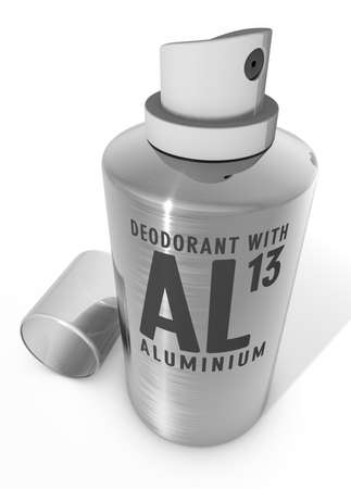 paralysis: Deodorant spray with aluminum Warning Stock Photo