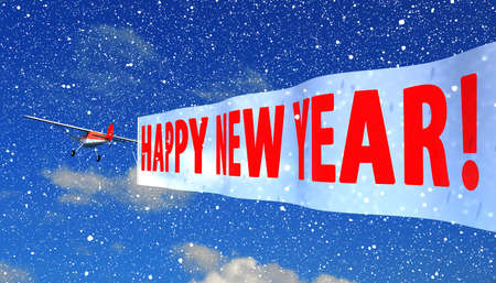 tarpaulin: airplane with banner quotHappy New Yearquot