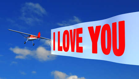 airplane with banner quoti love youquot Stock Photo