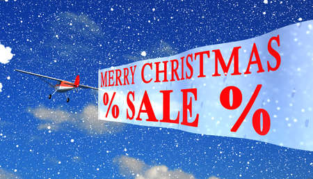tarpaulin: airplane with banner quotXmas Salequot
