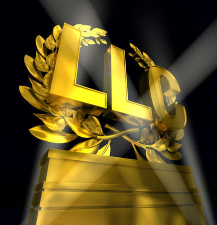 LLC in golden letters at podium with laurel wreath