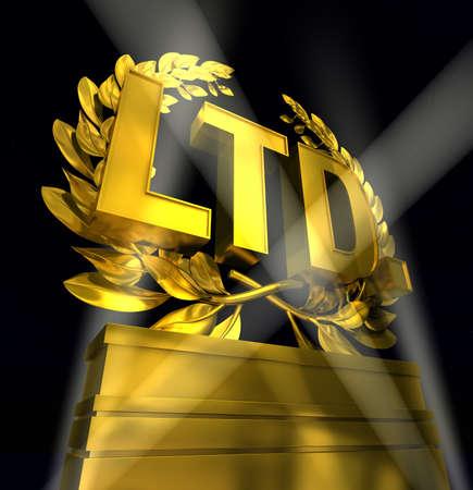 LTD in golden letters on the pedestal