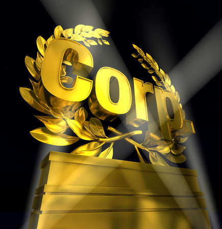Corp. in golden letters on podest