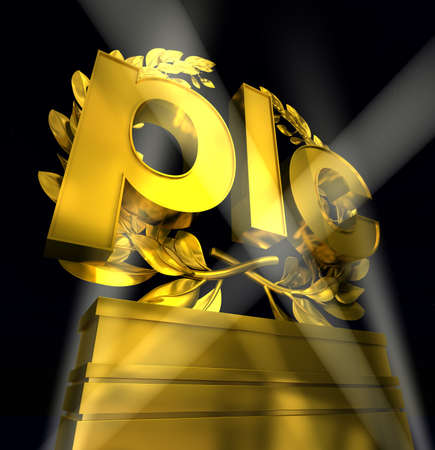 plc in gold letters in front of laurel wreath on pedestal