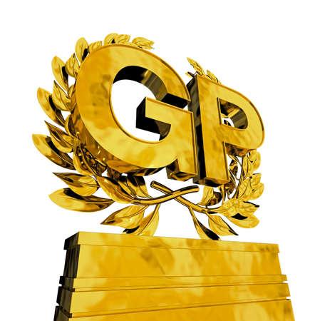 GP in golden letters with laurel wreath on pedestal