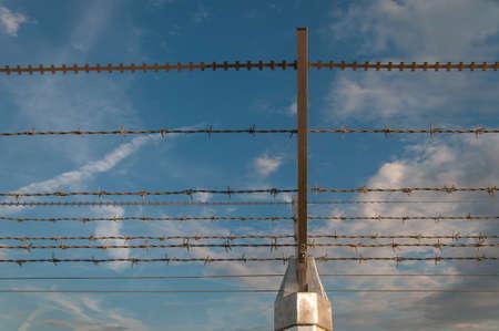 Part of a barbed wire under a blue sky Banco de Imagens