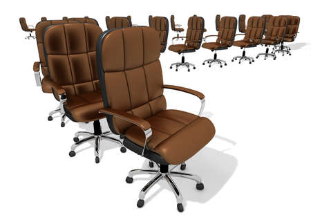 executive chair endless row, 3d illustration