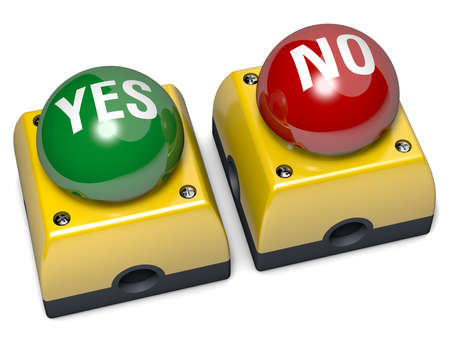 Emergency buttons, Yes and No, 3D illustration