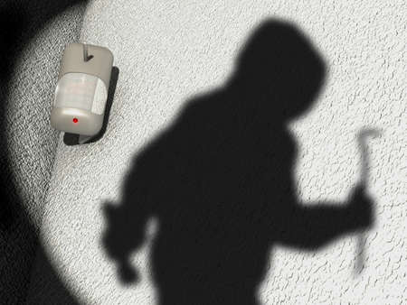 Motion Detector and shadow of a robber in a garden scenario, 3d illustration