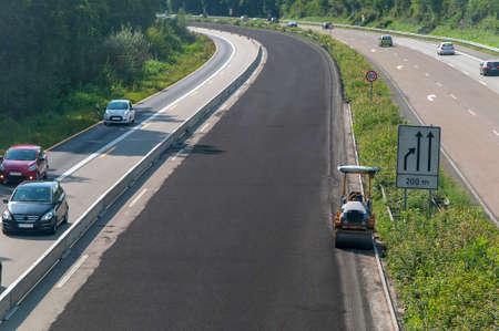 Construction site roadwork, new asphalt layer Stock Photo