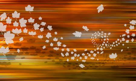 Ahornblätter Silhouette Herbst Wind Standard-Bild - 88408861