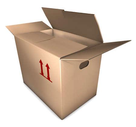 open removal carton, 3D illustration