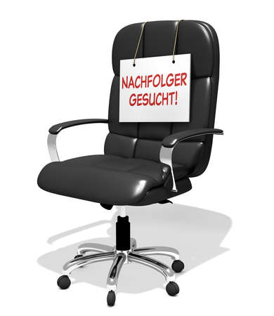 executive chair vacant with successor sign wanted, 3D illustration Standard-Bild - 118157801