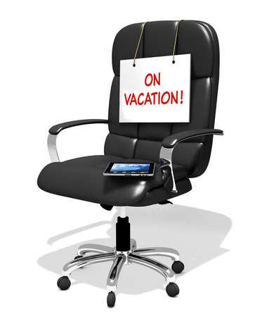 executive chair with white sign on vacation, 3D illustration Banco de Imagens