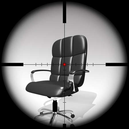 executive chair target view through a scope, 3D illustration