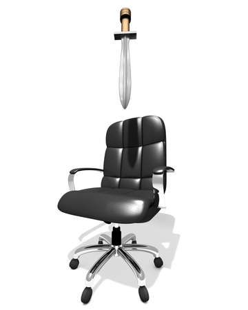 executive chair with damocles sword waiting above, 3D illustration