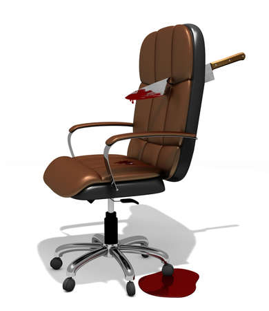 executive chair brokethrough by big knife as a metaphor about rivalry at office, 3d illustration