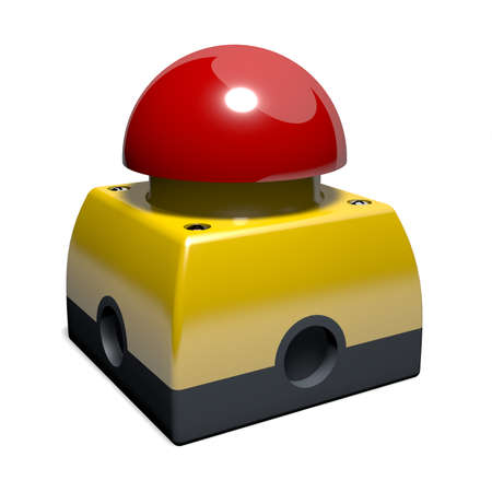 Emergency button in yellow with red button, 3D illustration Stock Photo