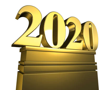 new year 2020, new years day, number pedestal, isolated