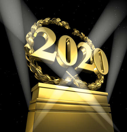 new year 2020, new years day, number with laurel wreath at spotlight at pedestal, isolated Banco de Imagens