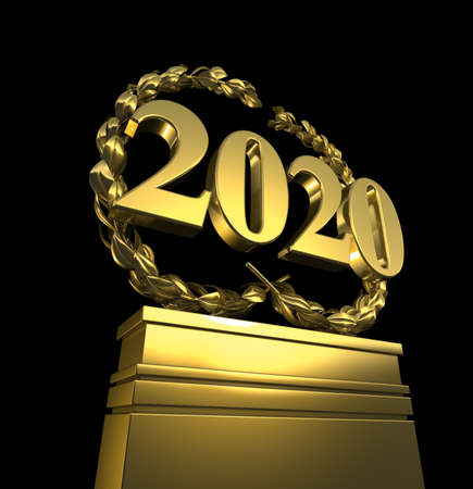 new year 2020, New Years day, number at pedestal, isolated Banco de Imagens