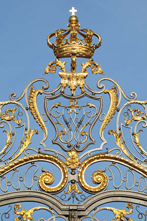 Ancient handcrafted iron fence with luxury details