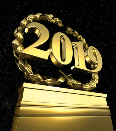 new year 2019 New Years day pedestal with number
