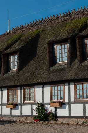 Thatched house with lattice