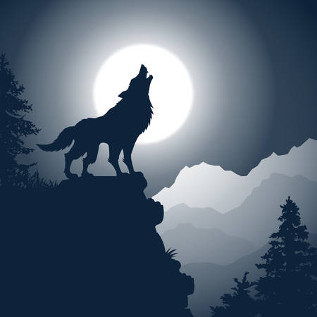 Wolf howling to the full moon at rock