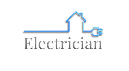 Electrician logo, house out of a blue cable