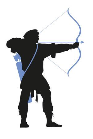 arquero histórico, silueta de arquero