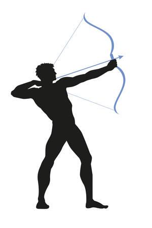 arquero clásico, silueta de arquero Ilustración de vector