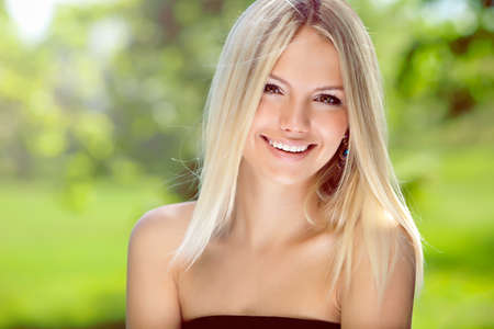 nice face: Portrait of happy blond woman