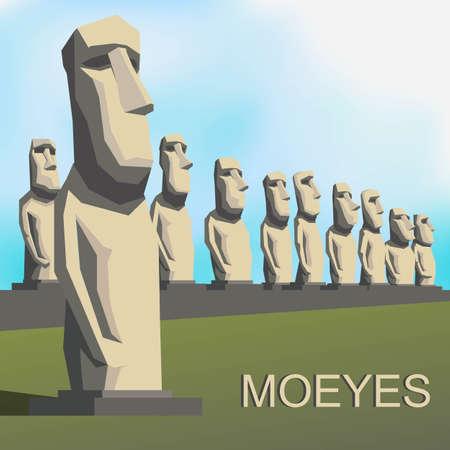chilean: Moai Moeye monolithic human figures by Rapa Nui people Illustration