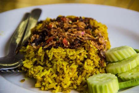 Thai food gourmet stream rice with photo