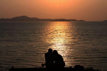 Couple on sunset photo