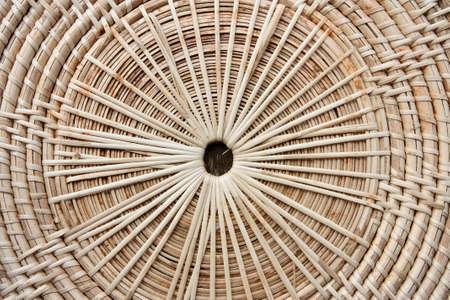 Circular background of rattan texture  photo