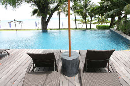 Edge of swimming pool and bed beach