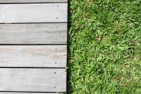 wooden floor and grass photo