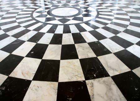 Black and white checkered marble floor pattern  Stock Photo - 14399366