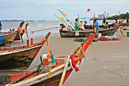 Pattaya beach,Thailand fishermen pack fishing net  Stock Photo - 15347173