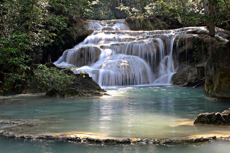 Erawan waterfall in kanchanaburi thailand photo