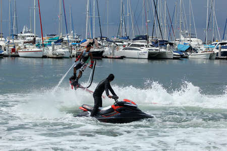 the ship flyboard acrobatics, November 24 2012 at the boat show  Ocean Marina in Pattaya, Thailand
