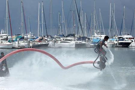 the ship flyboard acrobatics, November 24 2012 at the boat show  Ocean Marina in Pattaya, Thailand