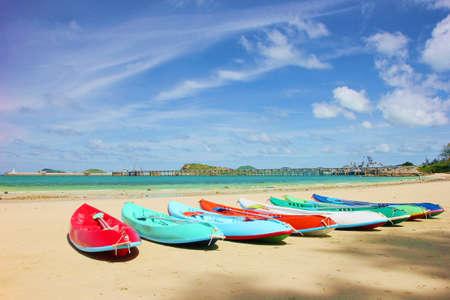 Many canoe on the beach  photo