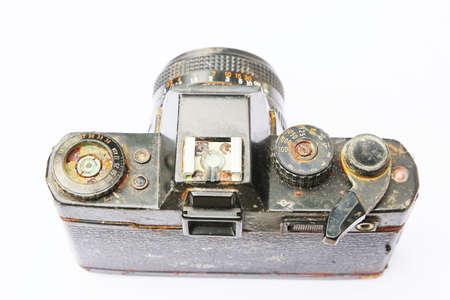 corrode: Old  SLR film camera  corrode   isolated on white background