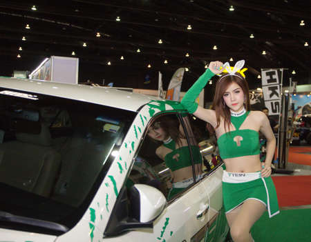 modyfikować: BKK. THAILAND JUNE 25 : Decoration super car and super model in Bangkok International Auto Salon 2015 2428 June 2015 at Bangkok Thailand. Event of decoration  modify car of Thailand Publikacyjne
