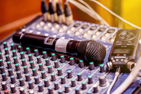 The set of sound control ,sound mixer in the sound control room. Stock Photo