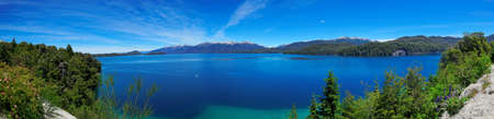 lake argentina: Panoramic view of Nahuel Huapi Lake, near Bariloche, Argentina, Patagonia, South America Stock Photo